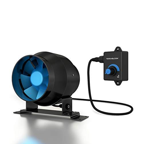 TerraBloom ECMF-100, ventilador de conducto en línea de 4 pulgadas con motor EC de 0-100 % de velocidad controlada, caja de metal,...