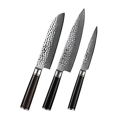 Juego de cuchillo 1pcs / 3pcs del cuchillo de cocina de acero VG10 Utilidad de acero de Damasco caja de regalo Chef Profesional Santoku japonesa de Sharp cortador (Color : A Z 3PC)