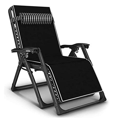Heavy Duty Sun Lounger Chair Foldable Zero Gravity Recliner Reclining Chairs Waterproof Chaise Lounge Deckchairs Metal (Color : Black-1)