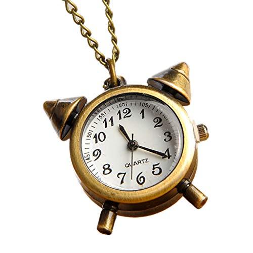 zhooujinf Reloj de Bolsillo con Forma de Alarma, Vintage, Bronce, Crea