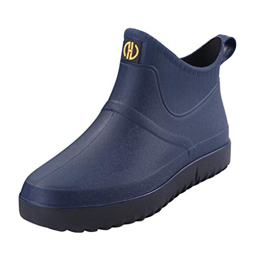 VonVonCo Boots for Men Waterproof Fashion Casual Outdoor Short Ankle Rain Shoes Slip On Water Shoes Dark Blue 11