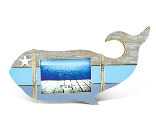 "Puzzled Wooden ""Whale Shape"" Picture Frame, 5 x 3.5 Inch Sculptural Wood Photo Holder Intricate & Meticulous Detailing Art Handcrafted Tabletop Accent Accessory Coastal Nautical Themed Home Décor"