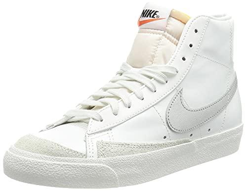 Nike W Blazer Mid '77, Zapatillas de bsquetbol Mujer, Summit White Mtlc Silver Summit White Summit White Hyper Crimson, 42 EU