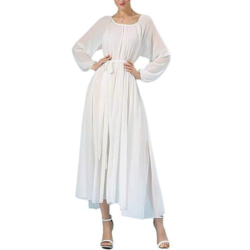 Buenos Ninos Women s Long Sleeve Crew Neck Loose Chiffon Long Maxi Dress  with Belt 42d02e365