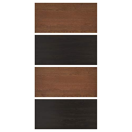 MEHAMN fyra paneler för glidande dörrkarm 100 x 201 cm svartbrunmålad askeffekt/brunfärgad askeffekt