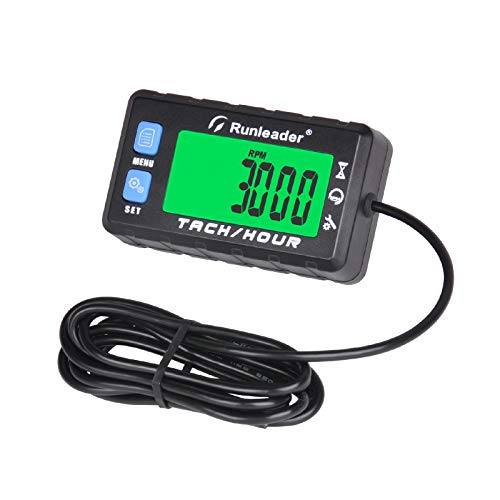 Runleader Tacómetro de horas digital autoalimentado,recordatorio de mantenimiento,pantalla de retroiluminación,batería reemplazable para tractor de césped,divisor de troncos,generador (058A, BU)