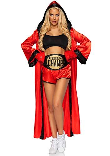 Leg Avenue Knockout Champ - Disfraz de boxeador para mujer - Rojo - M/L