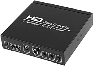 TNP SCART to HDMI Converter Video Audio Adapter Box with SCART/HD Switch, PAL/NTSC Video Scaler, 1080P/720P Upscaler Support HDMI Connector Output, 3.5mm AUX Jack and Coaxial Audio Output