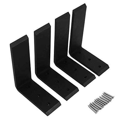 """Hodenn 4PC 6""""x8"""" Countertop Support Brackets Corbel Lot L Shelf Heavy Duty Black Steel"""