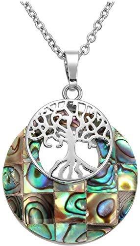 halsketting met natuurlijke edelsteen-hanger, heilende kristal ronde steen met levensboom charme-halsketting, sieraad, kleur: abalone shell