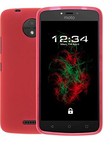 Baluum TPU Matt rote Hülle für Lenovo Moto C Plus Schutzhülle Hülle Cover Handyhülle Backcover Silikonhülle