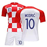 FNBA Luka Modric # 10 Die Republik Kroatien Kinder Jugend Fußball Jersey und Shorts Schwarz/Weiß Unterstützung DIY Anpassung-White-XS