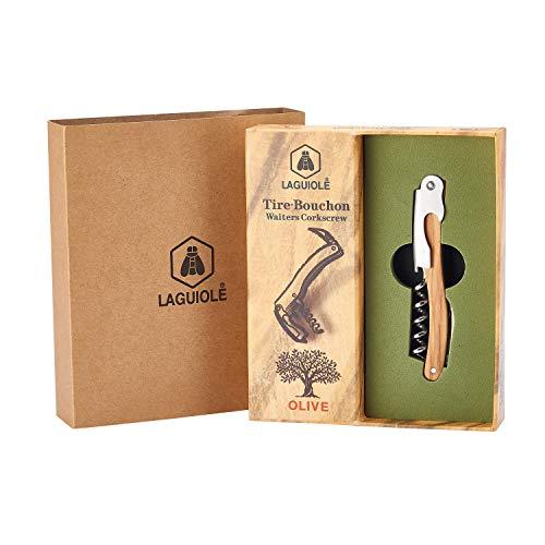 LAGUIOLE - Sacacorchos, corta cápsulas y abrebotellas Sommelier - Madera de olivo - acero inoxidable - castaño