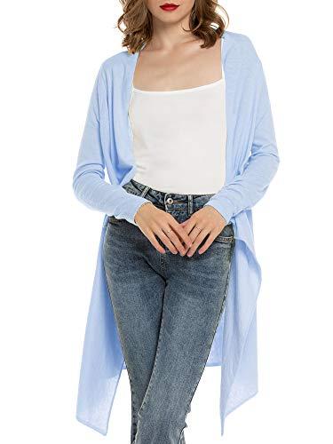 MessBebe Cardigan Mujer Verano Camisa Blusa Manga Larga Mujer Cárdigan Largo Playa Camisetas de Fiesta Blusas Largas Chal Flojo Chaqueta Punto Cardigans Mujer Primavera Verano