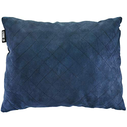 Leisure Co Compressible Foam Camping Pillow - Best Compact Pillows for Sleeping on Camp Trips, Hammocks, Airplane Flights & More - Perfect Travel Size with Compact Bag
