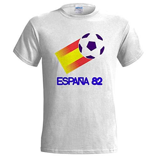 Camiseta de fútbol retro para hombre de España 82 Blanco blanco 52 ES/54 ES/Large