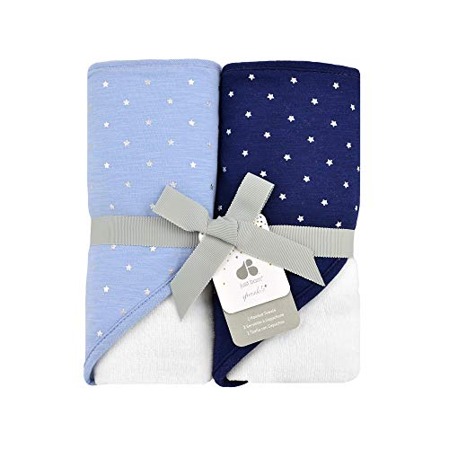 Just Born Boys and Girls Newborn Infant Baby Toddler 2-Pack Hooded Bath Towel Set, Sky Blue, One Size