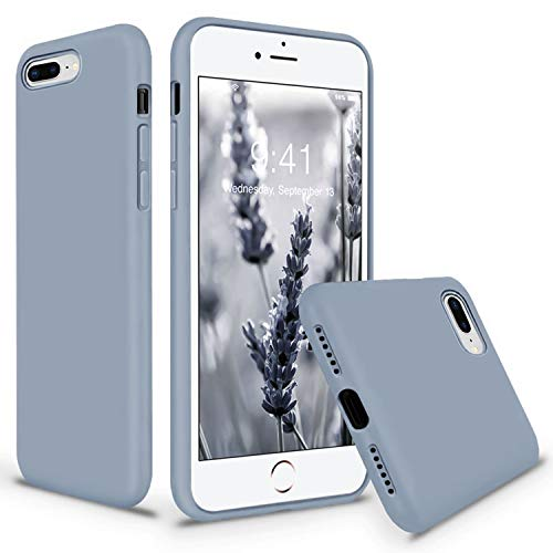 Vooii iPhone 8 Plus Case, iPhone 7 Plus Case, Soft Silicone Gel Rubber Bumper Case Microfiber Lining Hard Shell Shockproof Full-Body Protective Case Cover for iPhone 7 Plus /8 Plus - Lavender Grey