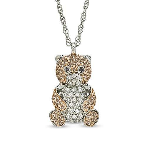 SLV Colgante de oso de peluche con diamantes D/VVS1 de 1,00 quilates, color negro, champán y transparente en plata de ley 925
