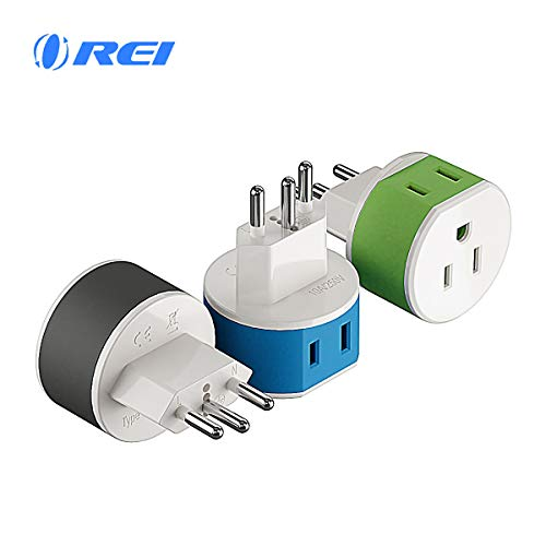 Brazil Travel Plug Adapter by OREI with 2 USA Inputs - Travel 3 Pack - Type N (US-11C) Safe Grounded Use with Cell Phones, Laptop, Camera Chargers, CPAP, and More