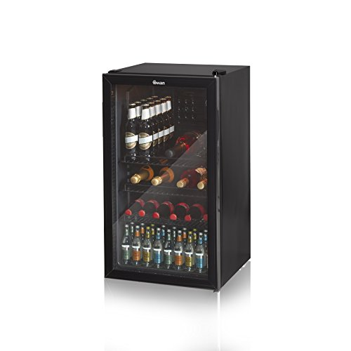 Swan SR12030BN, Glass Fronted Under Counter Fridge - Drinks, Vino Wine Cooler, 85W, 80L
