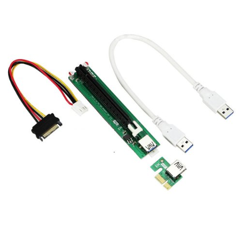 PCI-E Powered 16X to 1X Adapter Riser USB 3.0 Cable 60cm(2 feet)/Molex 4Pin To Sata 15Pin Power Connector