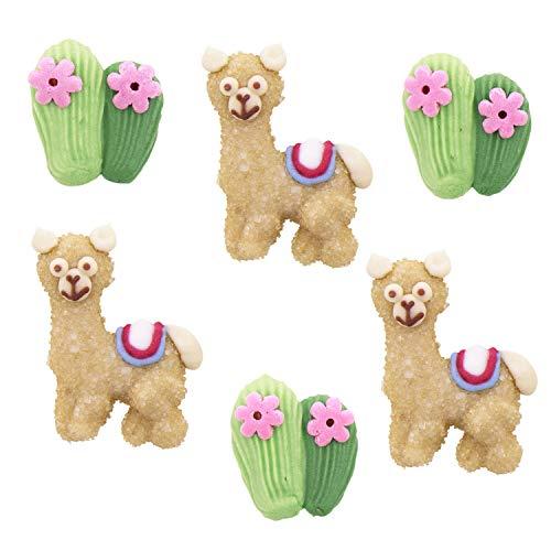 24 Stück Lama und Kakteen Zuckerfiguren Set | Alpaka | Südamerika