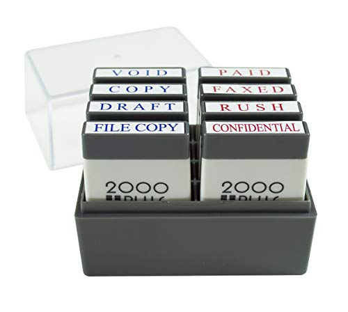 2000 PLUS Mini Stamp Set with Storage Tray, 8 Messages, 1' x 1/4' Impression, Red and Blue (030219)
