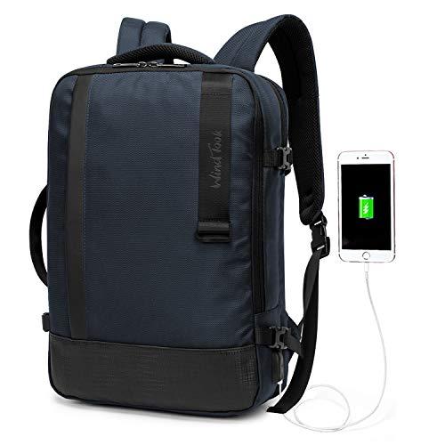 Wind Took Herren Laptop Rucksack 15,6 Zoll Daypack mit USB-Ladeanschluss Anti-Theft, für Business Schule Uni, Blau