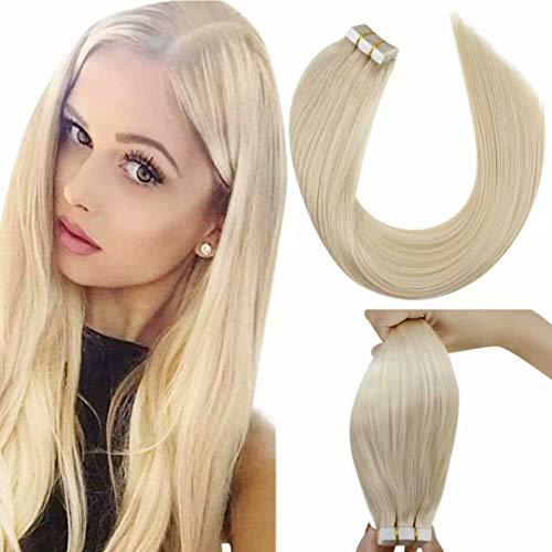 LaaVoo Remy Tape in Extensions Echthaar Blond 16 Zoll/40cm Hellblond Tape Haarverlangerung Echthaar Solid Color Seamless Skin Weft Tressen 50GR/20PC #24 Echte Haare