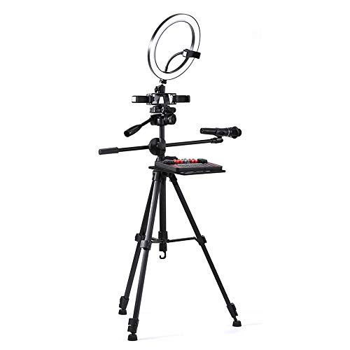 HWZQHJY 10.2' Selfie Ring Light with Tripod Stand & Cell Phone Holder for Live Stream/Makeup, Mini Led Camera Ringlight for YouTube Video/Photography Compatible