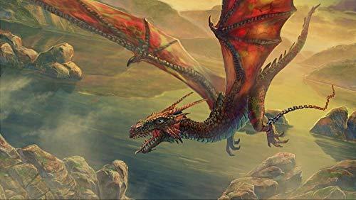 YUBYUB Rompecabezas de Madera Puzzle 1000 Piezas Puzzle Juego Educativo Divertido de descompresión Intelectual para niños Adultos Regalo Juguete dragón Volando Cadena de roca/75 * 50 CM