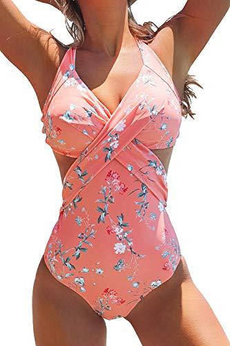 CUPSHE Pinker Einteiliger Badeanzug mit Floralem Rückenknoten, M