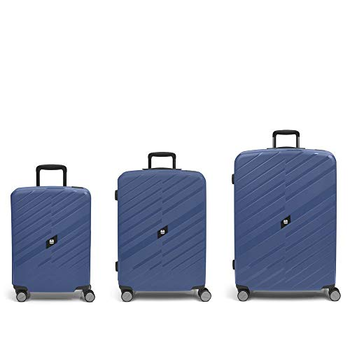Gabol - Sendai | Set of Hard Suitcases with Three Blue Stewardess with Cabin Suitcase, Medium Trolley and Large Trolley