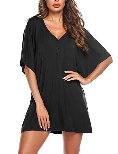 DamenNachthemdKurzarmSchlafkleidSexyTunikaPyjamaT-ShirtBluseTopmitKnopfleistefürFrauenMädchenSommerSchwarz