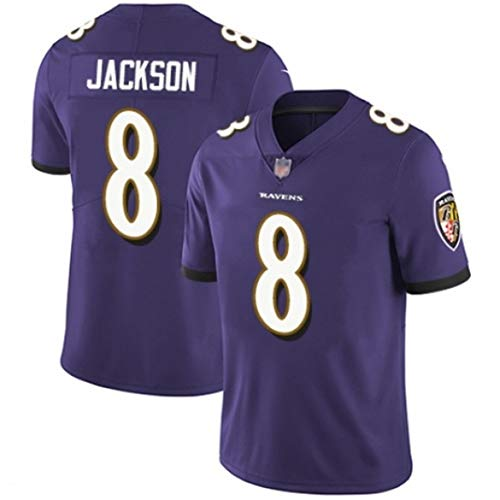 WOCTP # 8 Lamar Jackson Rugby-Trikot, American Football-Trikot Baltimore Ravens Bestickter Stoff, Kurzarm-Sport-T-Shirt-Sweatshirt-purple-3XL(195cm+)