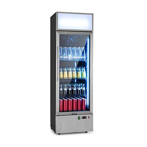Klarstein Berghain Pro Getränkekühlschrank, 188 Liter, 55 x 176 x 55 cm (BxHxT), Temperaturen: 2-8 °C, Werbefläche, abschließbar, Glastür, RGB-Ambiente Innenbeleuchtung, Edelstahl Flaschenkühlschrank
