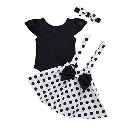 Baby Girl Ruffle Romper Tops Polka Dot Dress Suspender Tutu Skirt Bow Knot Headband 3Pcs Toddler 1st Birthday Outfit (White, 12-18 Months)