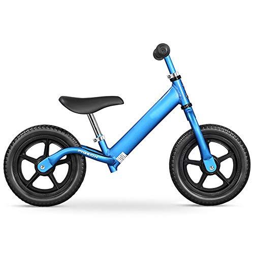 YumEIGE Loopfiets voor jongens, balansfiets, schuimband, lichte baby balansfiets met antislip voetsteun, geen pedaal, sporttraining, fiets, geschikt voor kinderen van 31-47 inch blauw