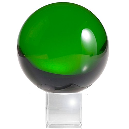 Amlong Crystal Meditation Ball Globe with Free Crystal Stand, 80mm, Green