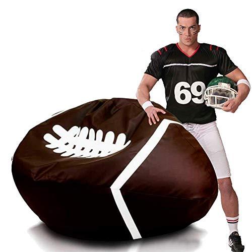 Ecopuf Rugby Pouf Poltrona Sacco Pallone Football in Ecopelle 130x60 Cm con Doppia Cerniera Antiperdita