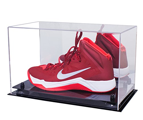 Better Display Cases Acrylic Large Shoe Display Case for Basketball Shoe Soccer Cleat Football Cleat with Black Risers and Mirror (A013-BR)