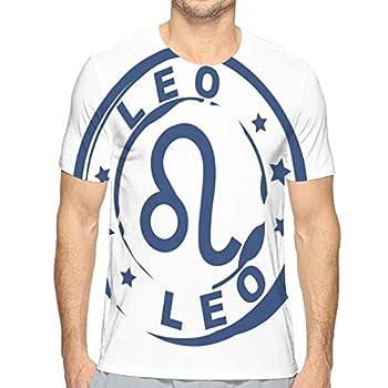 Men s Short Sleeve T-Shirt Astrological Sign Rubber Stamp Leo Symbol
