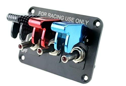 LiHaQin DC12V 20A Panel de conmutación de conmutación de la Fibra de Carbono y el Panel del Interruptor de Carreras de Carreras Rojo y Azul para Carreras de Carreras con Cable LiHaQin