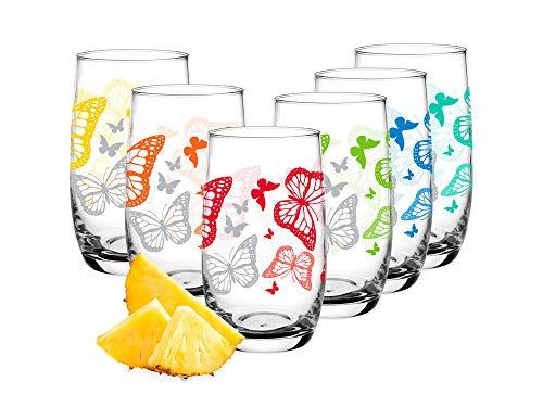 Sables & Reflets - Set di 6 bicchieri per acqua, bicchieri da soda, collezione Farfalla, 320 ml