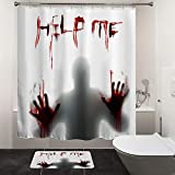 "HIYOO Halloween Horror Scary Bloody Shower Curtain Sets with Hooks, Bathroom Hallowmas Theme Bathtub Curtain Art Decor, Waterproof Fabric and No Need Liner - Help Me 60"" W x 72"" L"