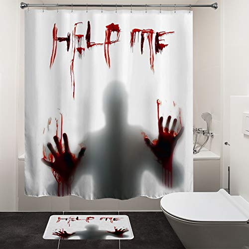 HIYOO Halloween Horror Scary Bloody Shower Curtain Sets with Hooks, Bathroom Hallowmas Theme Bathtub Curtain Art Decor, Waterproof Fabric and No Need Liner 60x72 Inches - Help Me