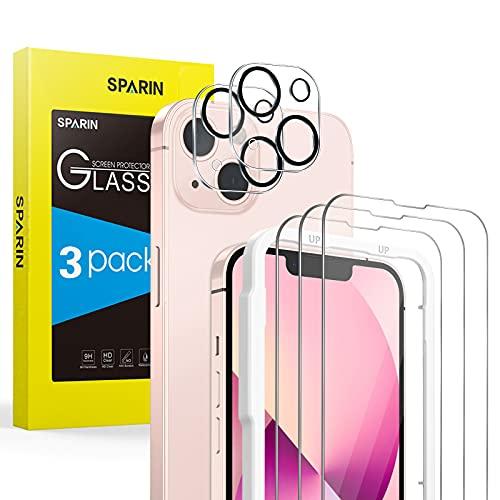 SPARIN 3+2 Stück Panzerglas kompatibel mit iPhone 13 mini 5,4 zoll, 3 Displayschutzfolie und 2 Kamera Schutzfolie Perfekt zum Fotografieren, mit Einfache Montage Rahmen, HD Klar Folie