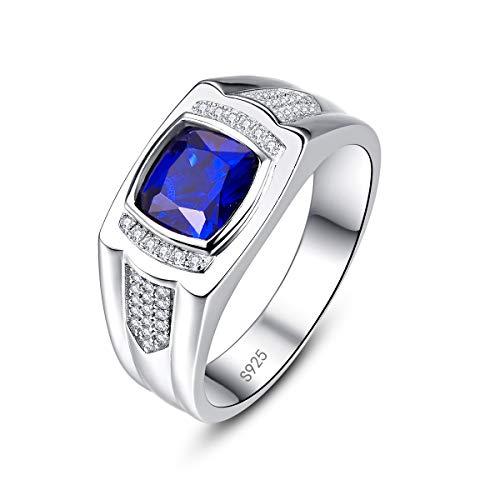 Bonlavie Anillo de compromiso de plata de ley 925 con zafiro azul creado para hombre, caja de regalo, Plata de ley 925, Sapphire,