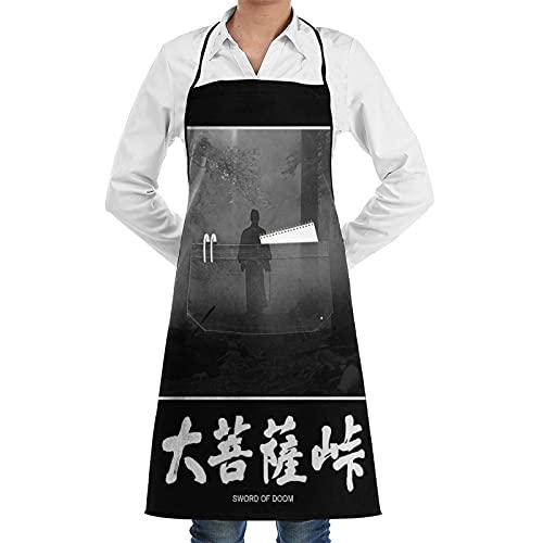 ASNIVI Delantal de cocina,Impermeable y antiincrustante ,La espada de Doom Samurai,Delantales para cocina casera, cocina de restaurante, cafetería, barbacoa, uso de jardín